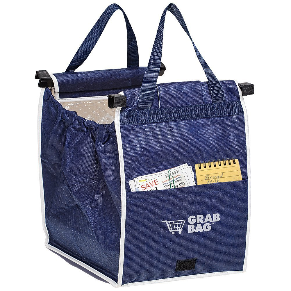 1 X ASOTV Insulated Reusable Grab Bag Grocery Shopping Tote Holds Up To 40 lbs Telebrands