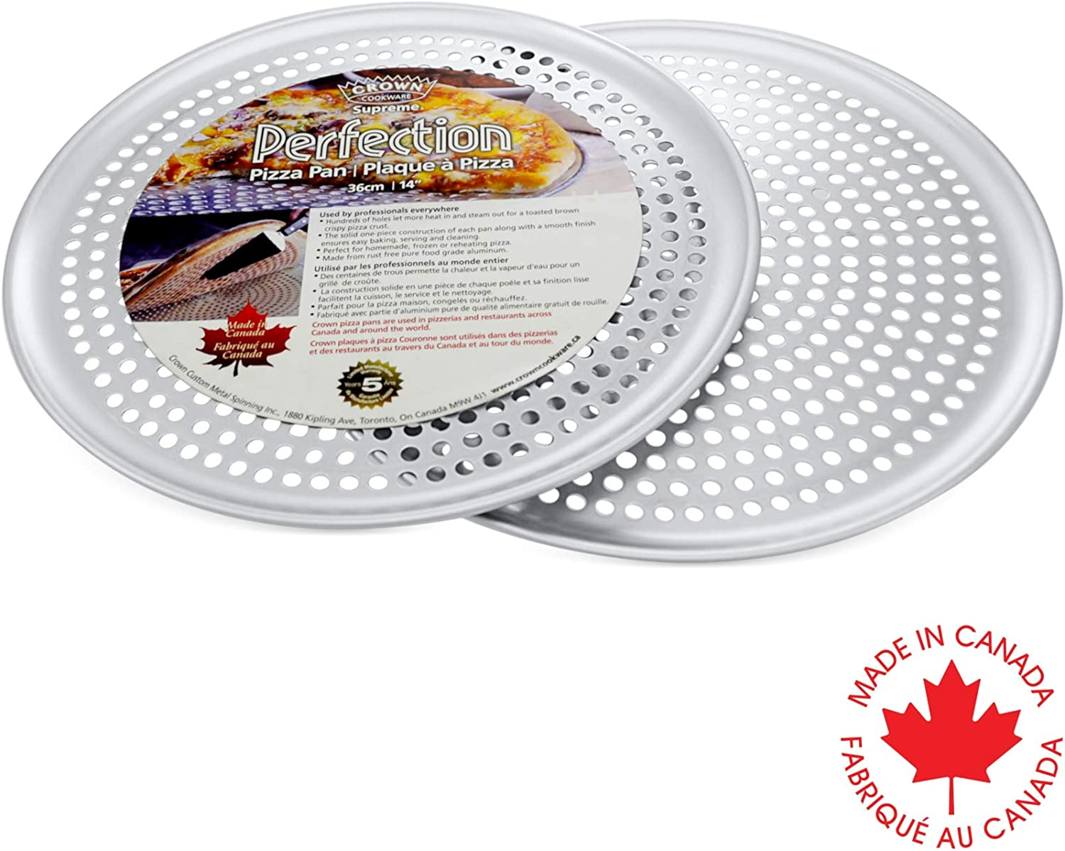 Crown Pizza Pan with Holes 12 inch, 2 Pack, Heavy Duty, Rust Free, Pure Aluminum, Easy to Clean, Perforated Pizza Pan