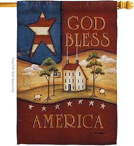 Breeze Decor H111090 God Bless America Americana Patriotic Decorative Vertical House Flag, 28