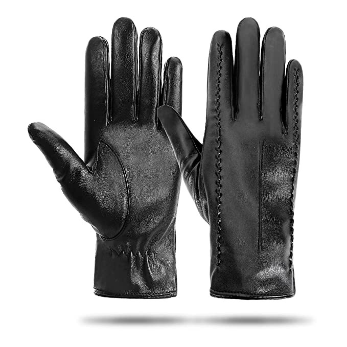 Womens Leather Gloves Womens Touchscreen Gloves, Ladies Genuine Leather Gloves Black Mittens, Soft Warm Cashmere Lining Winter Gloves With Three