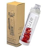 Unique 3 en 1 Premium ZENZUZE Bouteille d'eau SPORT avec infuseur à fruits - Sans BPA avec couvercle de verrouillage « Flip Top » avec bec verseur extra large pour se rafraîchir rapidement