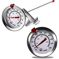 """KT THERMO Deep Fry Thermometer With Instant Read,Dial Thermometer,6"""" Stainless Steel Stem Meat Cooking Thermometer,Best…"""