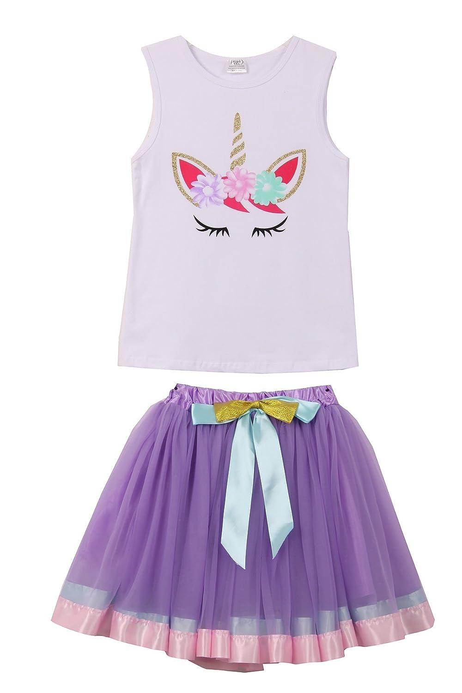 Unicorn Print Tank top with Skirt T-Shirt Top Cami 2t-8
