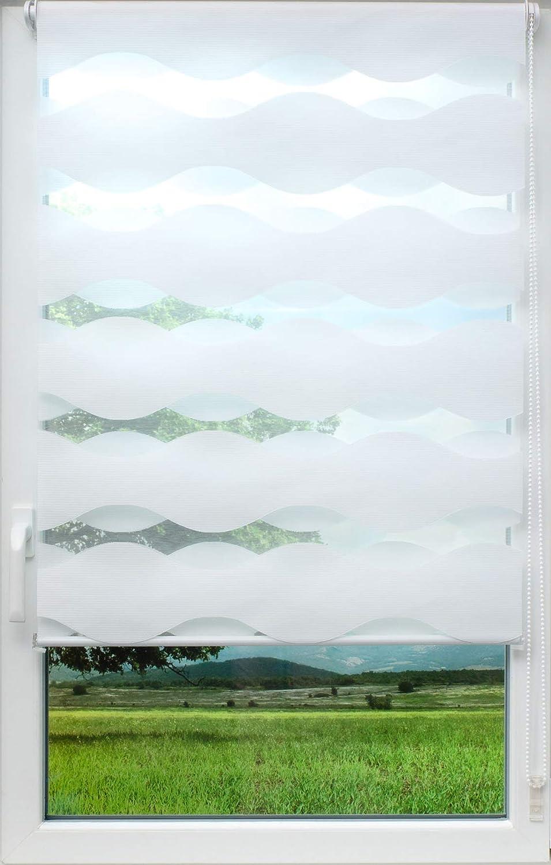 Sunlines Welle Klemmfix, Weiss, 140 x 150 Doppelrollo, PES, 140 x 150cm