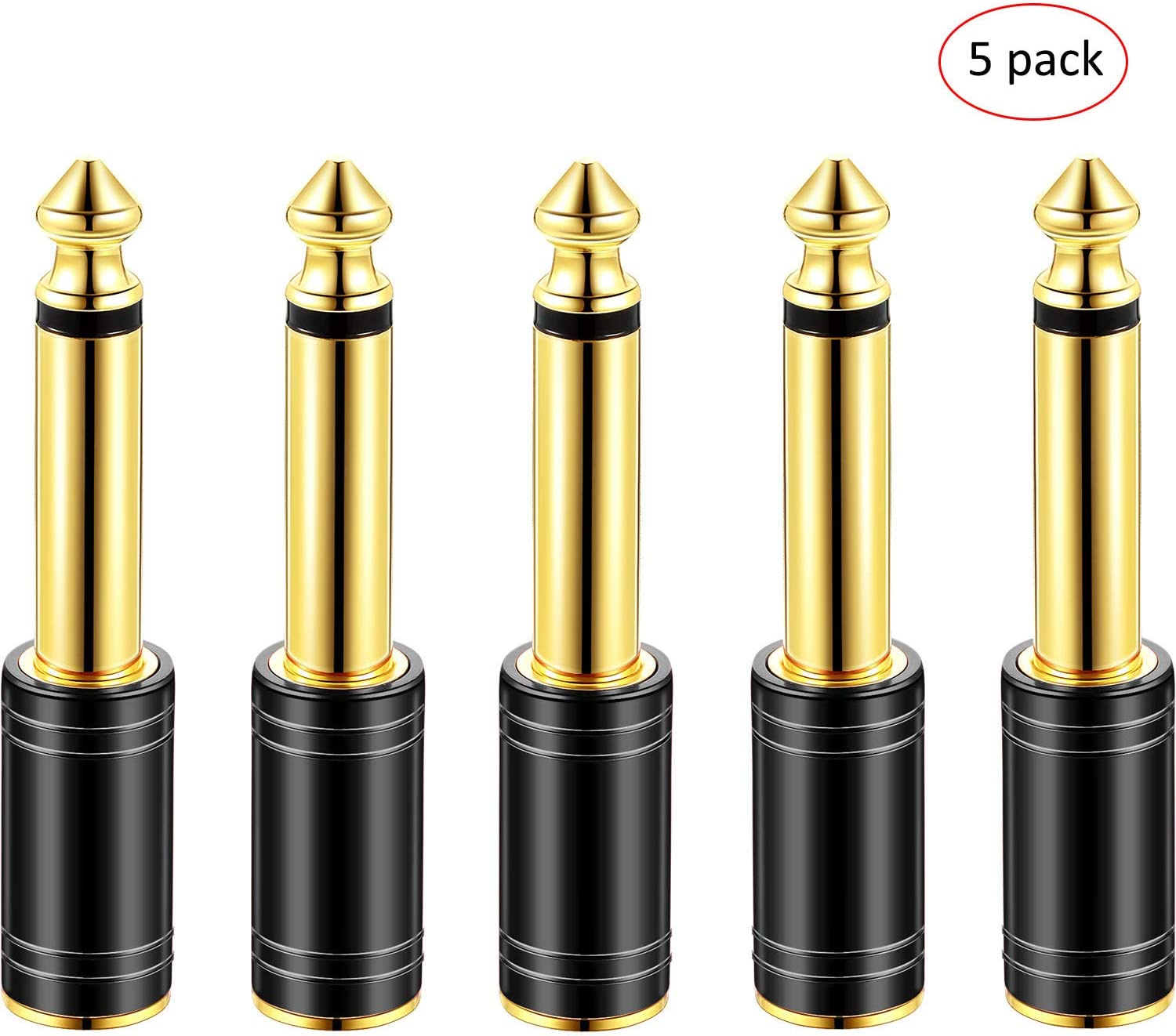 Amp Adapter 1//4 Inch Male to 1//8 Inch Female Stereo Pure Copper Headphone Adapter Upgrade 6.35 mm Jack Stereo Socket Male to 3.5 mm Jack Stereo Plug Female for Headphone Black 5 Pack
