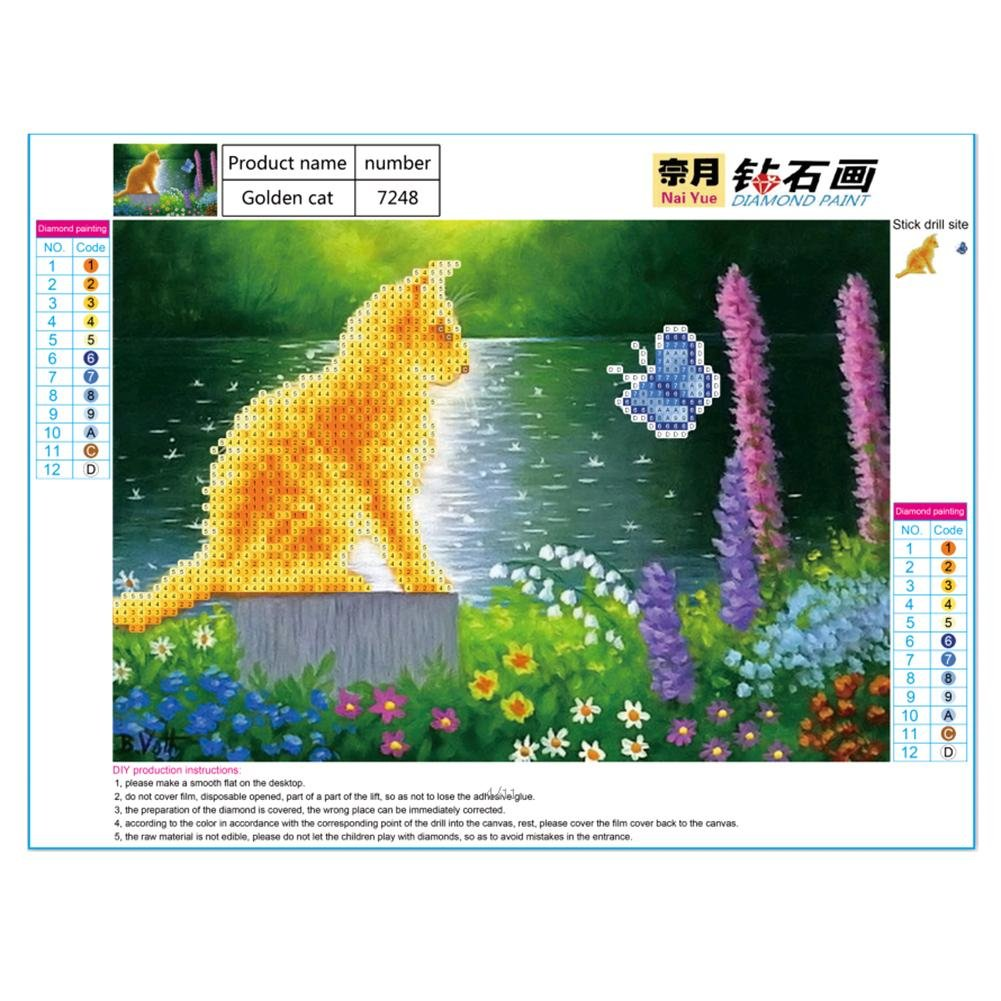 Tomtopp Golden Cat Diamond Embroidery Painting Cross Stitch