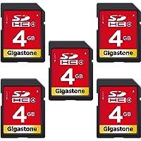 Gigastone 4GB 5-pack SD geheugenkaart, SDHC, C4, klasse 4, geschikt voor muziek, fotocamera's, compactcamera's, computer…
