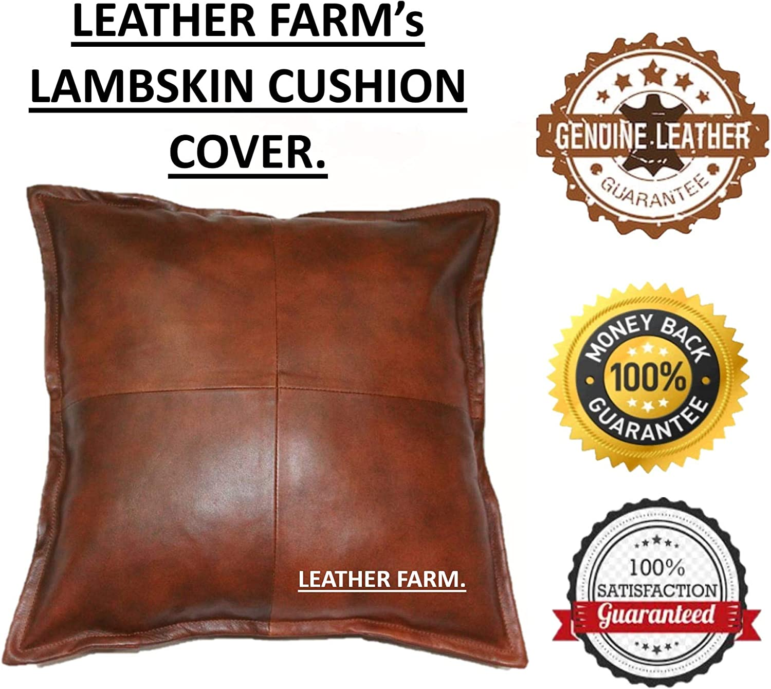 Genuine Leather Pillow Cover TAN