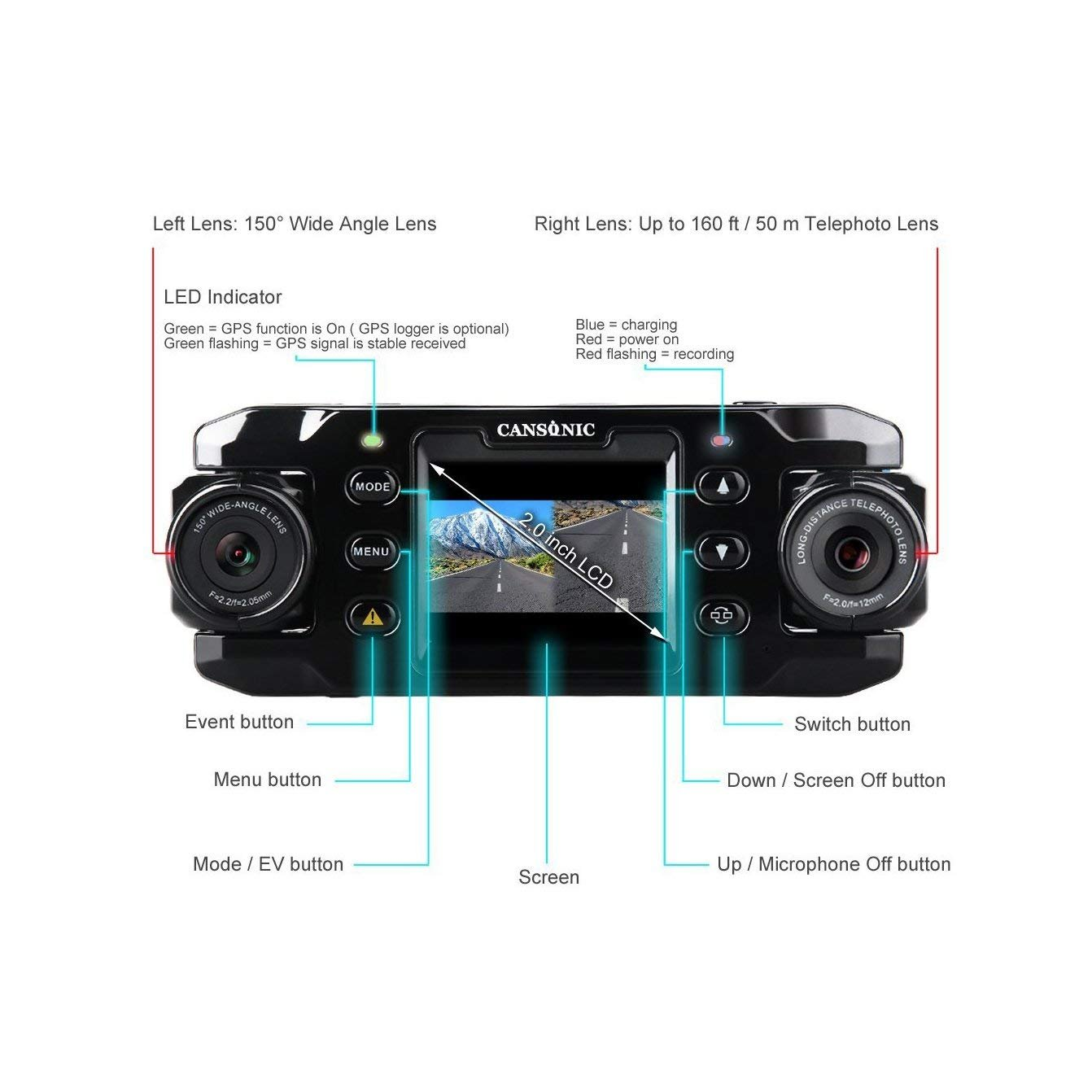 Amazon.com: Cansonic UltraDuo Z1 Dual Lens Dash Cam Car Camera Dashboard Digital Driving Video Recorder HD 1080P, 150 Degree Wide Angle, 160 ft Zoom in Lens ...
