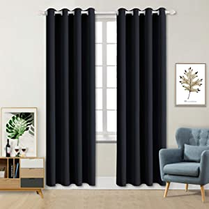 BGment Blackout Curtains for Living Room - Grommet Thermal Insulated Room Darkening Curtains for Bedroom, Set of 2 Panels (52 x 84 Inch, Black)