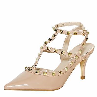 321545e099a Rock on Styles Women Ladies Party Studs Patent Low Mid Heel Court Shoes  Pumps Sandals Size