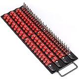 Makitoyo 80-Piece Portable Socket Organizer Tray, 1/4-Inch, 3/8-Inch, 1/2-Inch,Heavy Duty Socket Rail, Black Rails with…