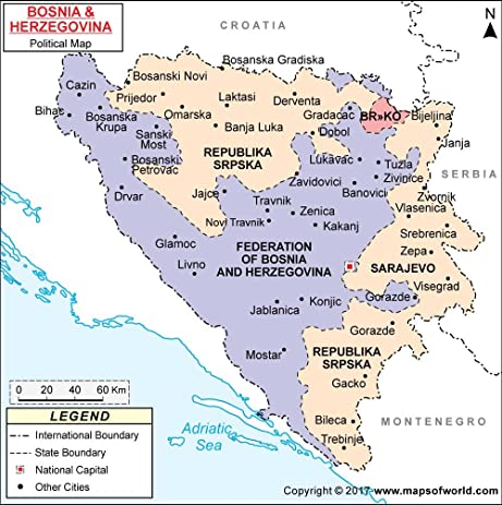 Amazoncom Political Map of Bosnia and Herzegovina 36 W x 3626