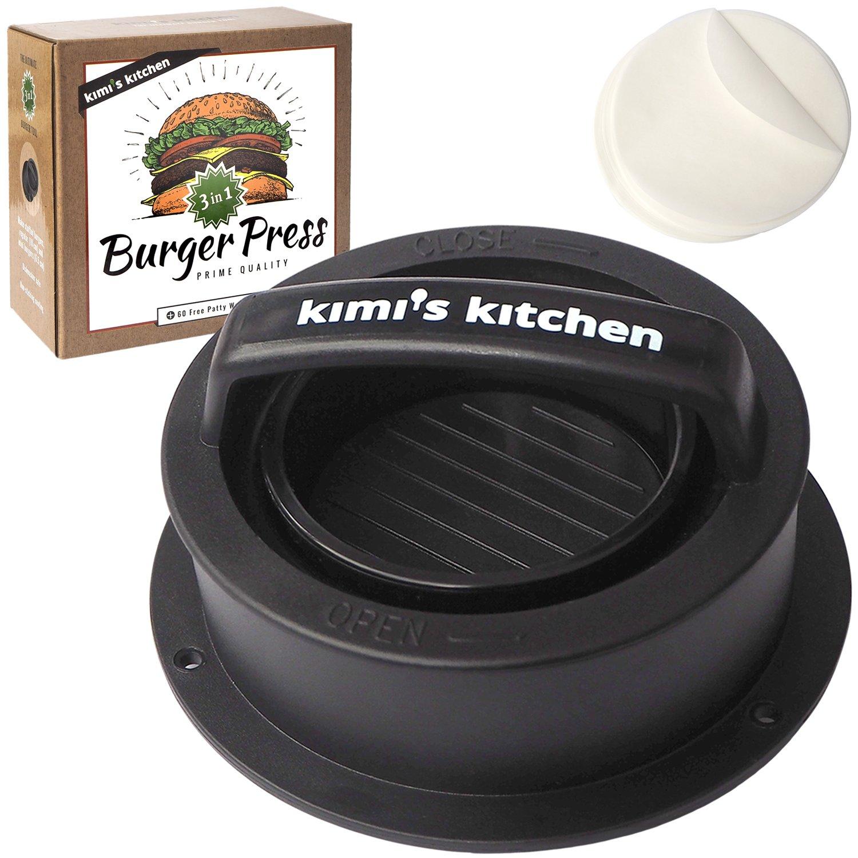 Kimi's Kitchen 3 in 1 Premium Burger Press | Perfect for normal Burgers, Stuffed Burger & Mini Hamburger | Plus 60 Free Non Stick Papers | for BBQ, Grill and Kitchen Super Goods e. U.