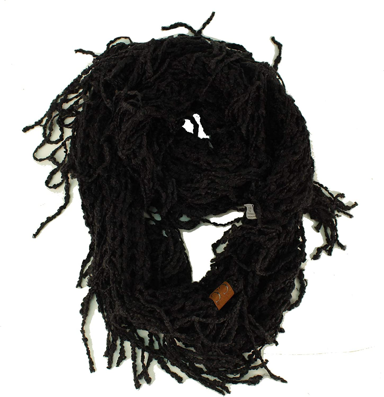 Winter CC Soft Chenille Net Tassle Fringe Thick Knit Infinity Scarf Wrap