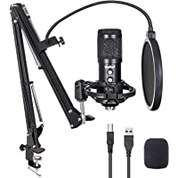 USB Microphone for Computer, Budbof Gaming Mic Kit with Boom Stand for Podcast Streaming Singing, Real Time Monitor…