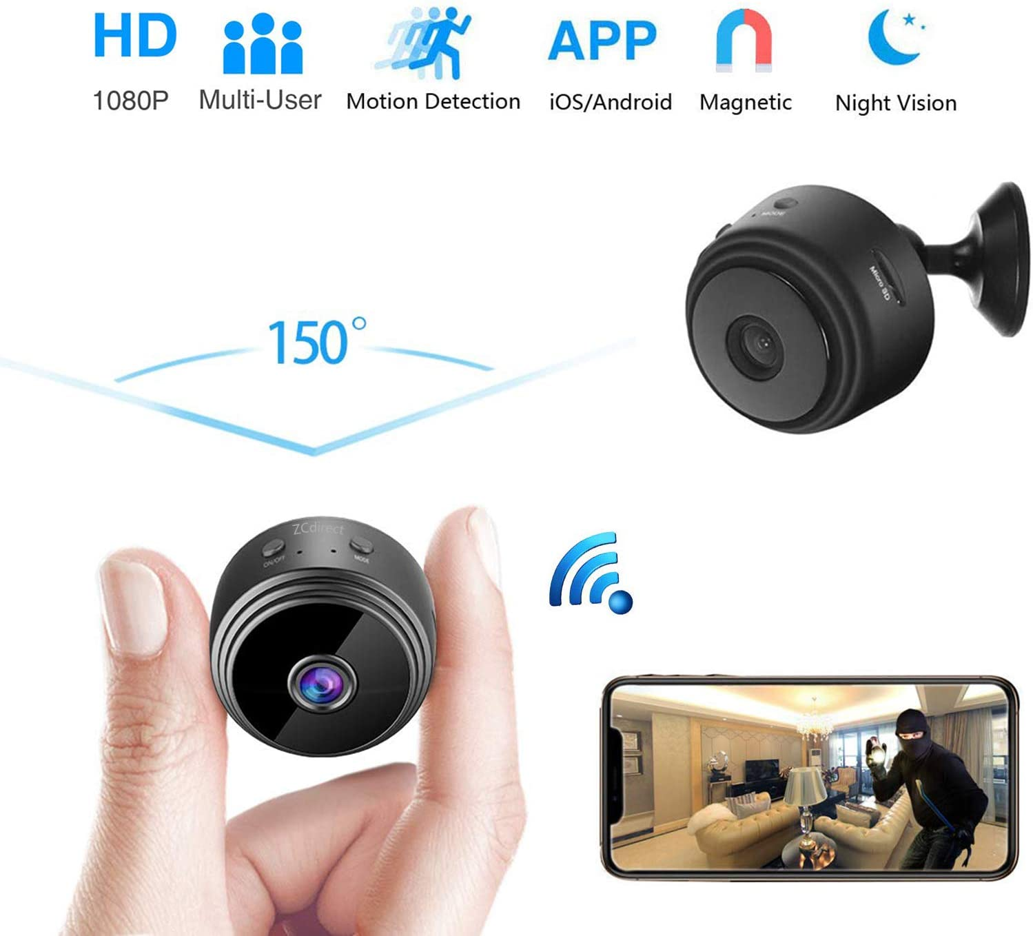 Spy Camera-Hidden Camera, Wireless HD 1080P WiFi Mini Camera with Night Vision,Motion Detection,Indoor Covert Nanny Security Camera,Remote Live View Support iOS Android for Home and Offic