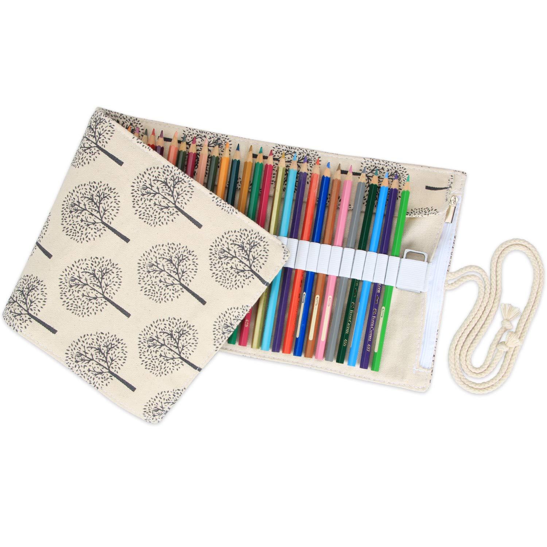 Damero Tela Wrap per matite Colorate Cassa del Supporto di Matita Viaggi Roll up portapenne con Cerniera Tasca per Matita Accessori Peony, 72-Hole No Matita Inclusa