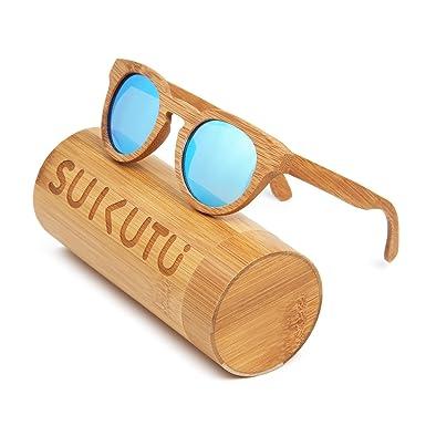 4600fff00b SUKUTU Men Women Handmade Bamboo Sunglasses Eyewear Outdoor Retro Fashion  Polarized Wood Glasses with Bamboo Box (Bamboo Blue)  Amazon.co.uk  Clothing
