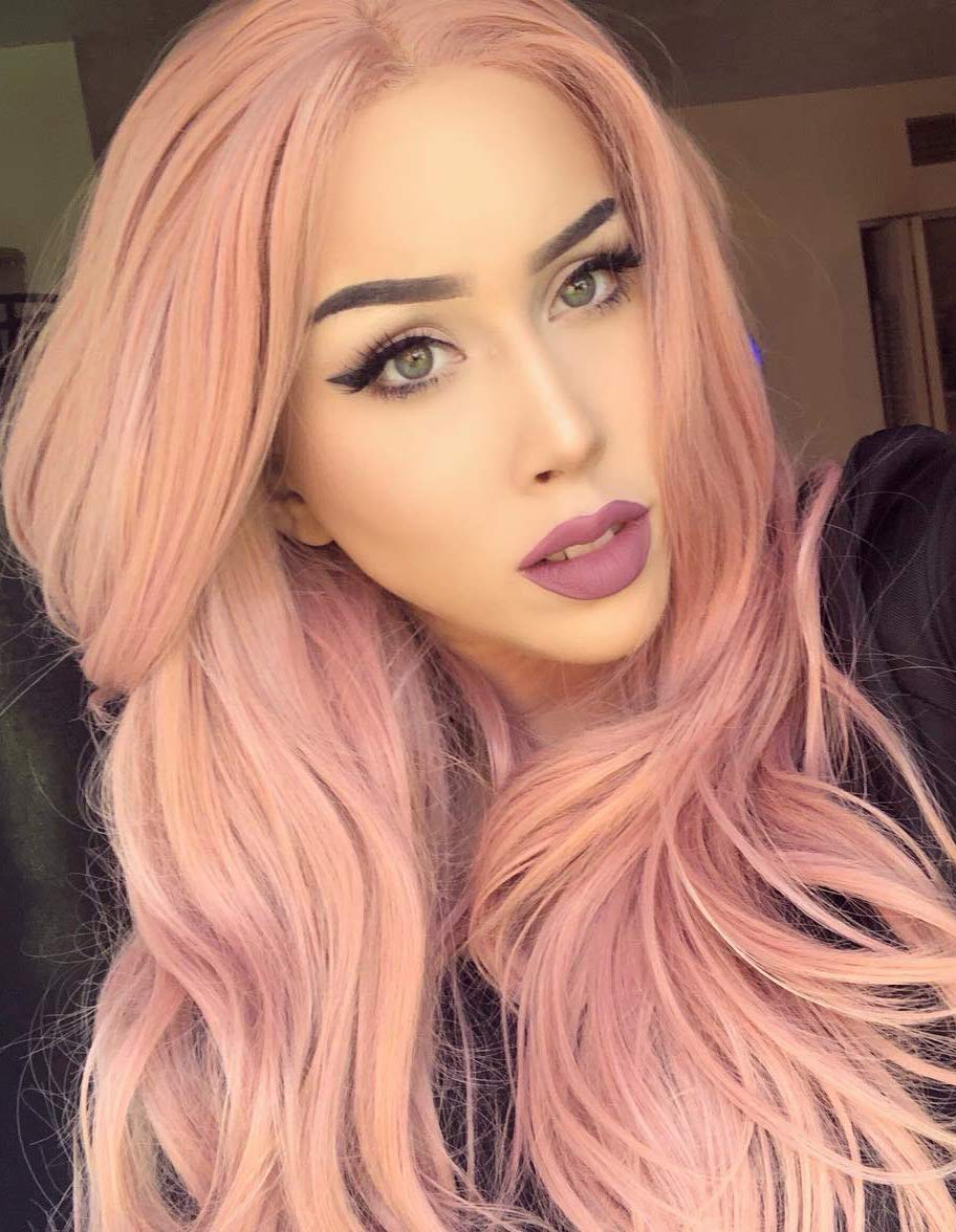 K'ryssma Orange Pink Lace Front Wig Ombre - Dark Brown Roots #4 to Mixed Rose Pink Long Natural Wavy Gluless Synthetic Wigs for Women Middle Parting Replacement Full Wig 22 inch (B010500) K' ryssma