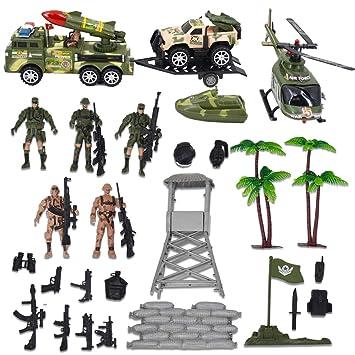 deAO Fuerzas Armadas Unidad de Defensa Militar Figuras de Acción Coleccionable Playset - 33 Piezas en Total