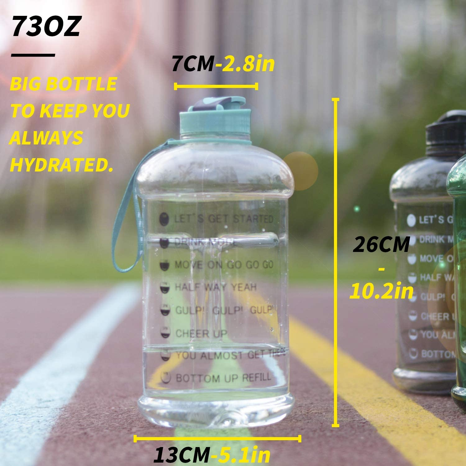 Moonice 2.2L//75OZ Gym Sports Water Bottle Half Gallon Water Jug with Mitivational Time Marker Dishwasher Usable Portable Big Capacity BPA Free Drinking Gym Water Jug for Men Women Fitness Gym Outdoor