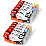 JetSir 5 Color Replacement for Canon PGI-270 XL CLI-271 XL Ink Cartridge 2 Set, Compatible With Canon Pixm MG6820 MG6821 MG6822 MG5720 MG5722 MG5721 TS5020 TS6020 Printers