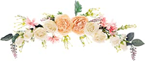 FLCSIed Artificial Peony Flower Swag, 63.5cm Decorative Swag with Champagne Peony White Rose and Green Leaves for Wedding Arch Front Door Wall Decor (2.13ft)