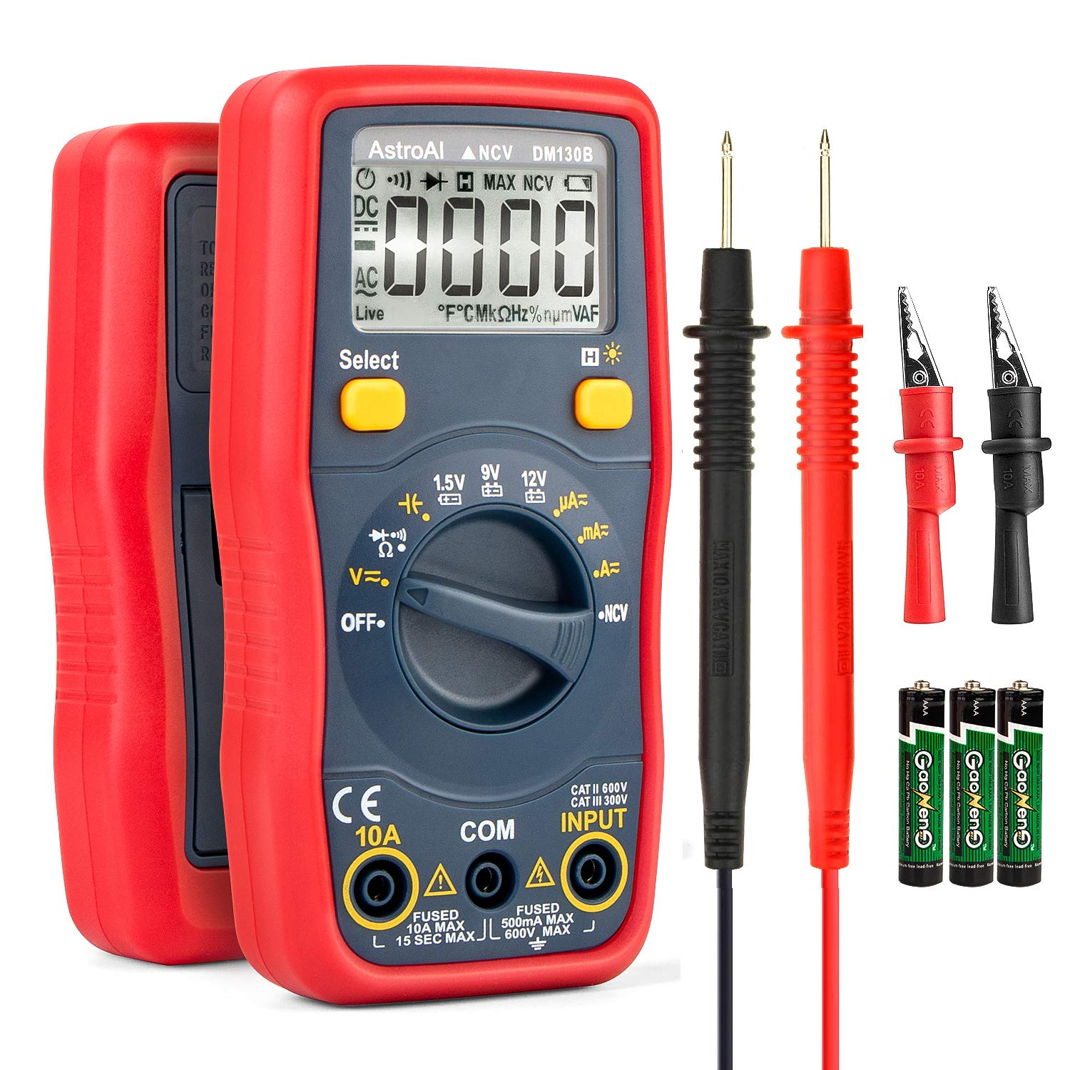 AstroAI Digital Multimeter Battery Voltage Tester 1.5v/9v/12v Auto-Ranging 4000 Counts TRMS DMM/Ohmmeter/Voltmeter with Non-Contact Voltage Function
