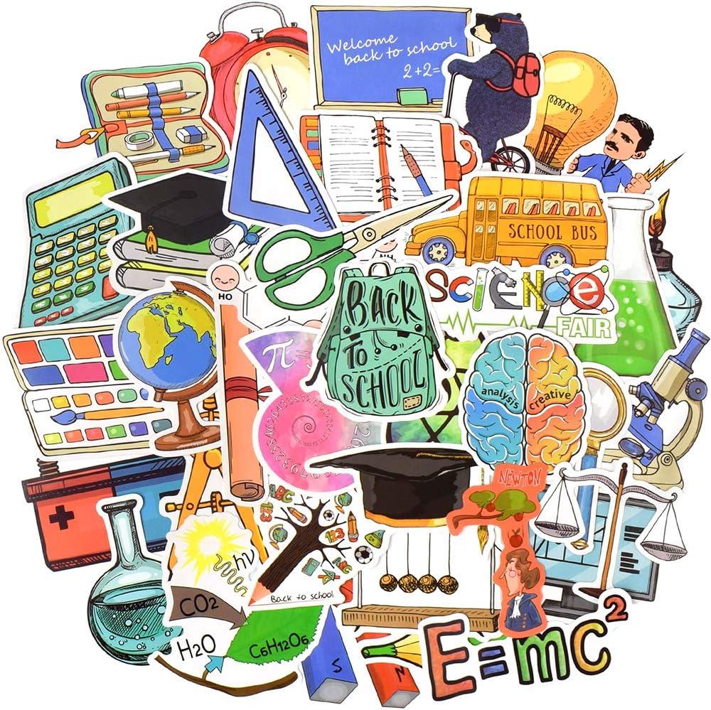 Waterproof Vinyl Science Stickers for Laptop Water Bottle (50 Pcs Back to School Style)