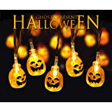 Halloween Lights LED Battery Powered 10.5 Ft 20 Leds 3D Pumpkin Jack-O-Lantern Lights Warm White Fairy Halloween Decoration for Indoor and Outdoor, Patio, Party, Festival Decoration Lights