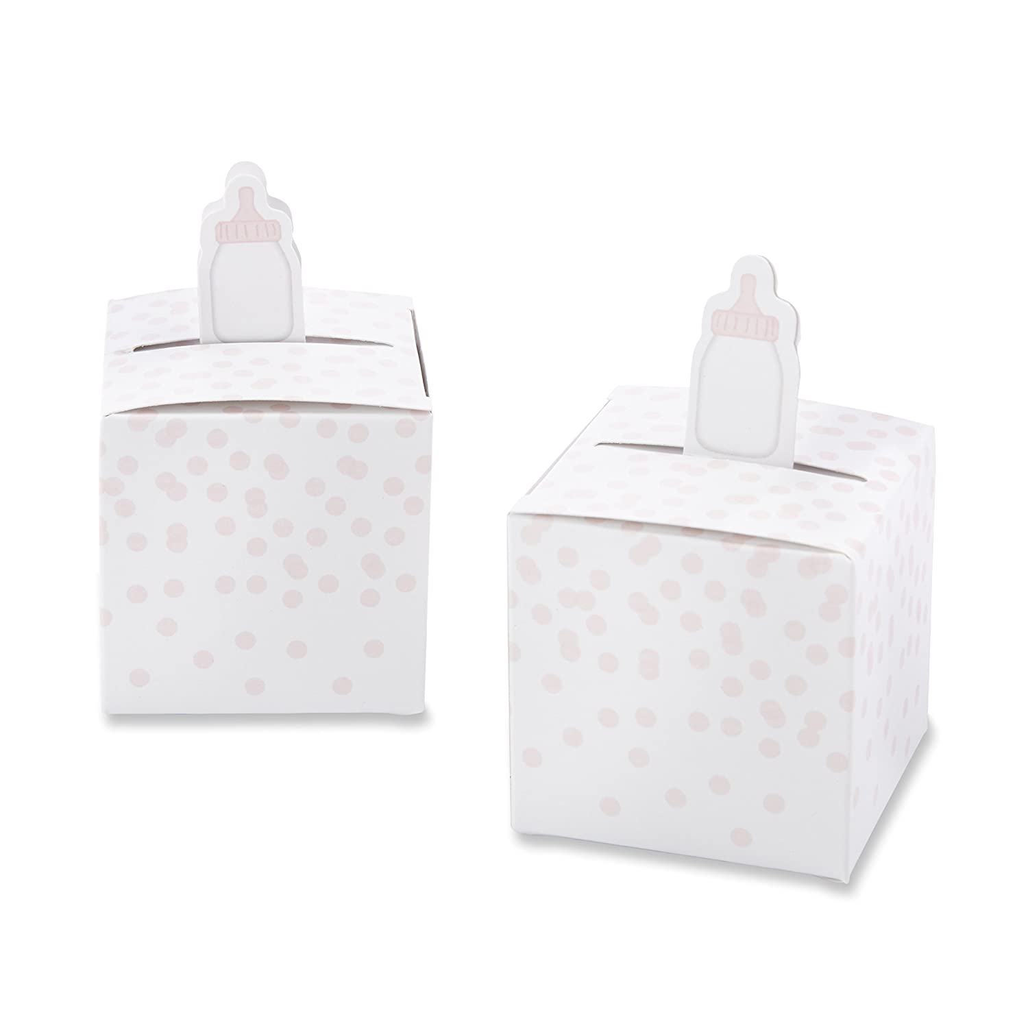 Kate Aspen Set of 24 Traditional Baby Bottle Favor Box, Pink