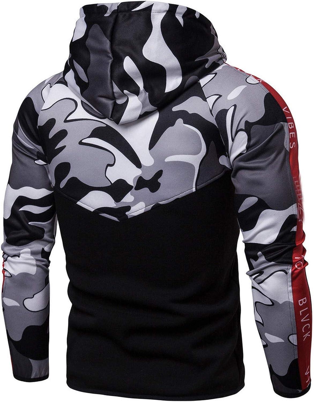 feilongzaitianba Mens Hoodies Streetwear Camouflage Zipper Long Sleeve Sweatshirts Turtleneck