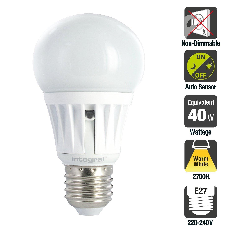 Integral LED ILA60E27S6.5N27KBEMA - Bombilla LED (E27, 5 W, sensor de encendido y apagado): Amazon.es: Iluminación