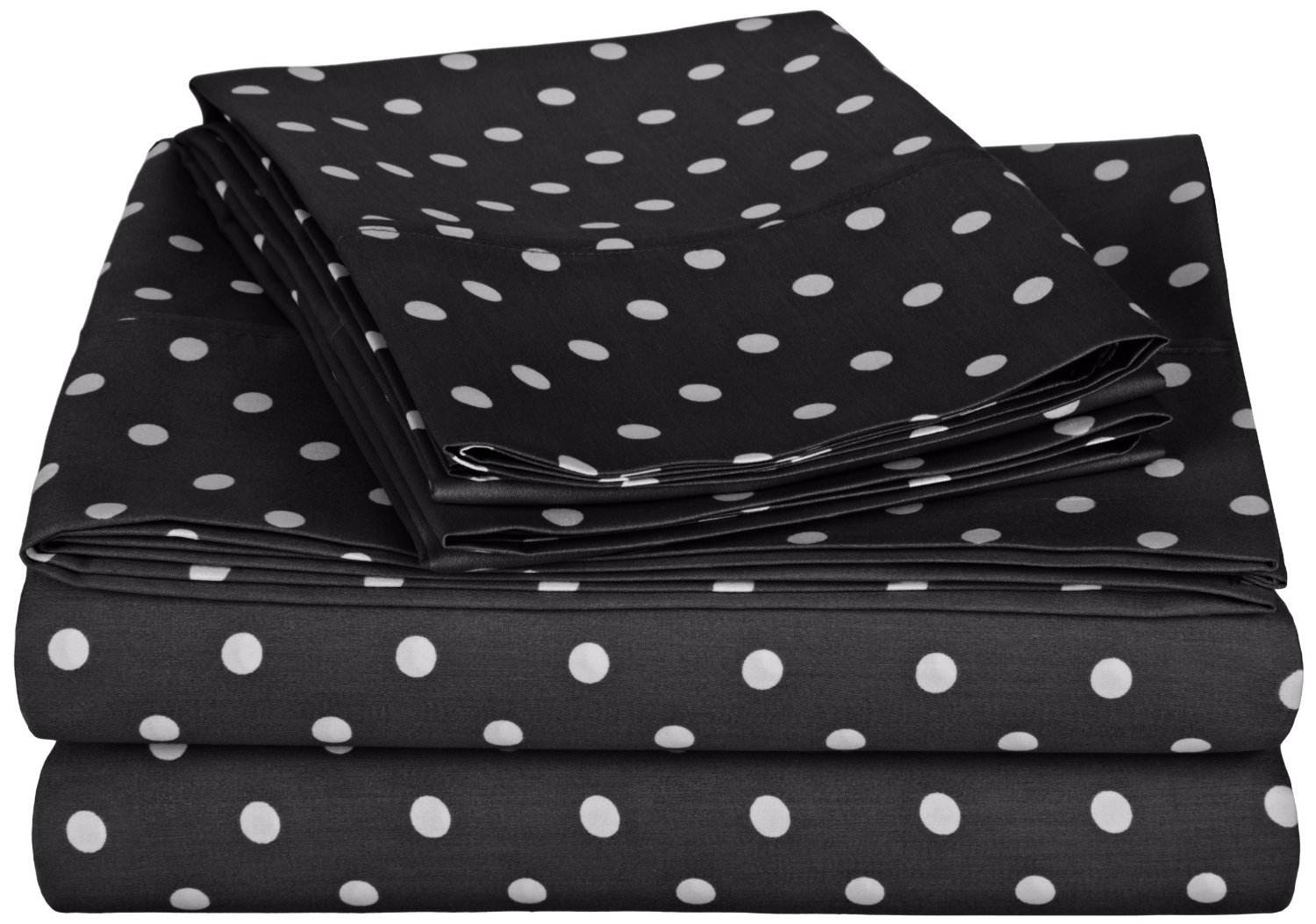 Black Twin XL Superior Polka Dot Sheet Set, 600 Thread Count Cotton Blend Bedding Sets, Soft and Wrinkle Resistant Sheets with Deep Fitting Pockets - Queen, Grey