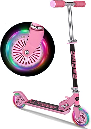 WeSkate Scooter for Kids with LED Light Up Wheels, Adjustable Height Kick Scooters for Boys and Girls, Rear Fender Break 5lb Lightweight Folding Kids Scooter, 110lb Weight Capacity