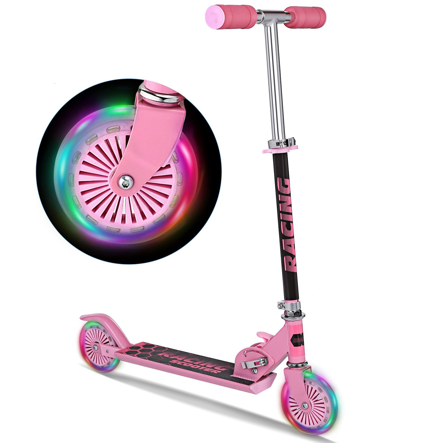 WeSkate B3 Scooter for Kids with LED Light Up Wheels, Adjustable Height Kick Scooters for Boys and Girls, Rear Fender Break|5lb Lightweight Folding Kids Scooter, 110lb Weight Capacity by WeSkate