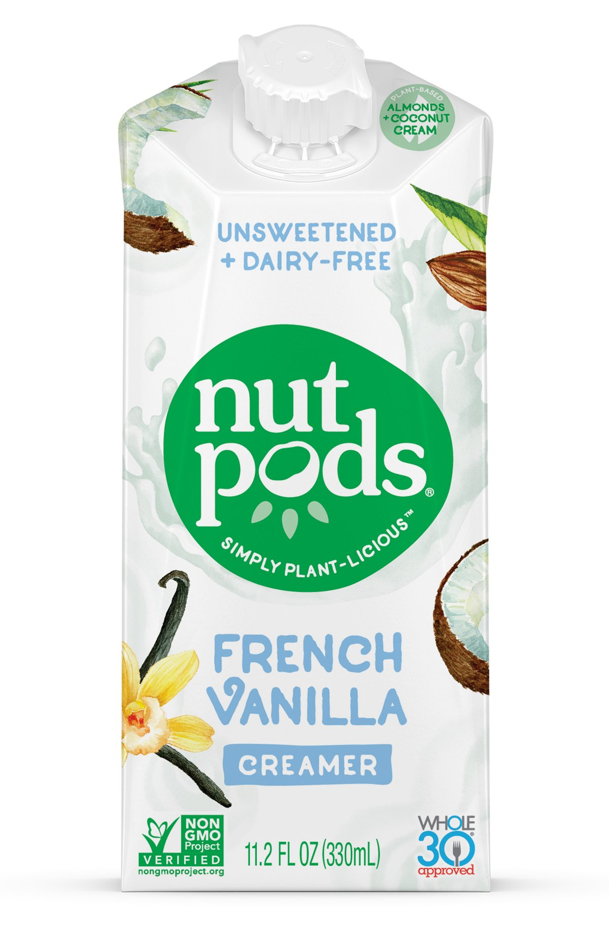 nutpods French Vanilla Dairy-Free Creamer (4-pack) Unsweetened Whole30/Paleo/Keto/Vegan/Sugar Free