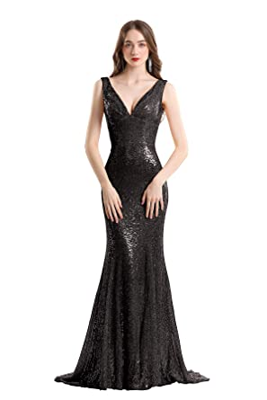 8b2cd55d48c0 YSMei Women s V Neck Long Evening Dress Mermaid Lace Up Prom Formal Gown  Backless Black 2