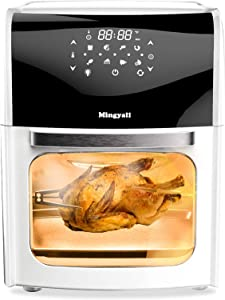 Large 12.7 Quart 8 in 1 Air Fryer, BANIROMAY 1700 Watt Electric Hot Air Fryers Oven Oilless Cooker with Rotisserie, Dehydrator, Bake, LED Digital Touchscreen with 8 Presets, ETL Certified (White)