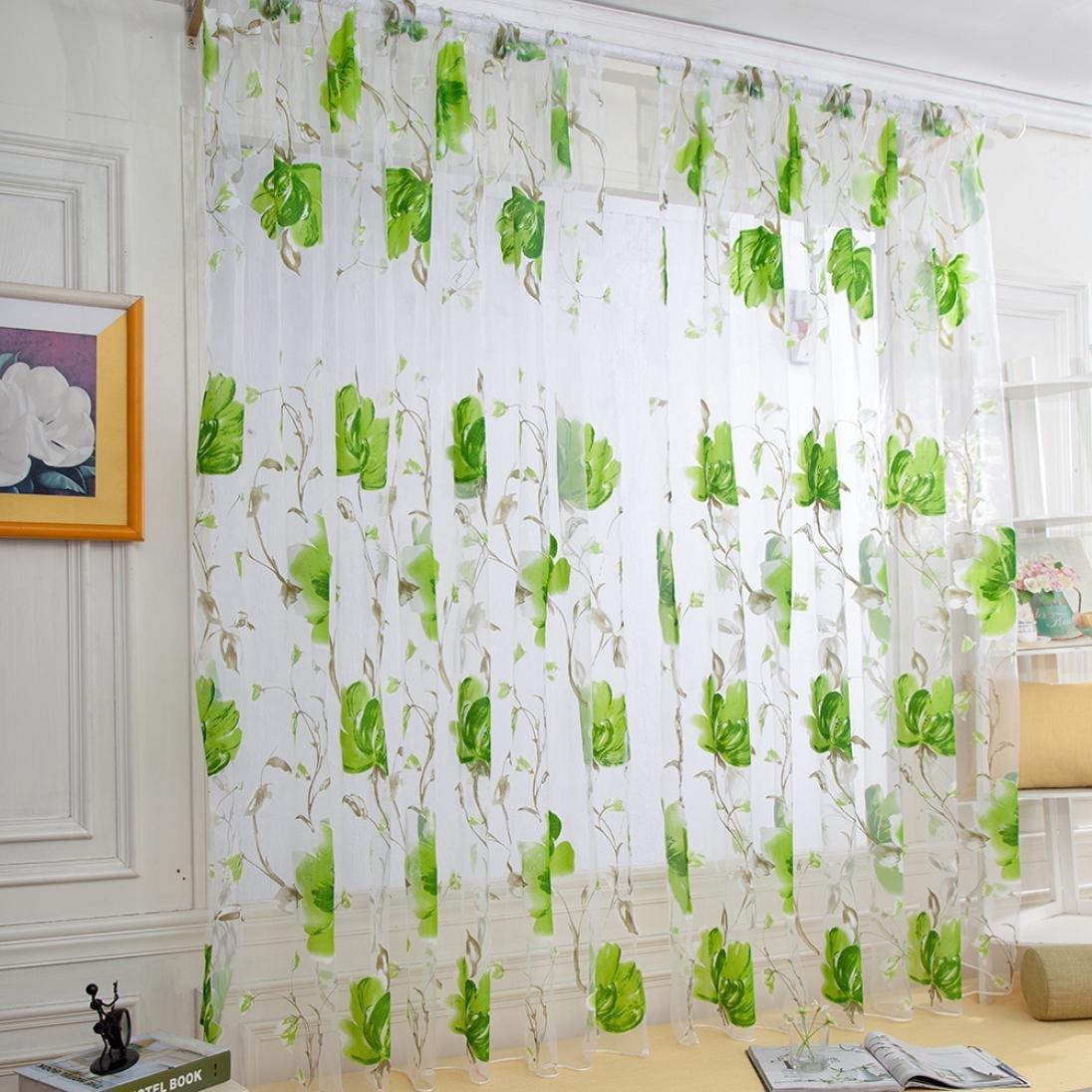WensLTD Clearance! 1PC Vines Leaves Tulle Door Window Curtain Drape Panel Sheer Scarf Valances (Green)