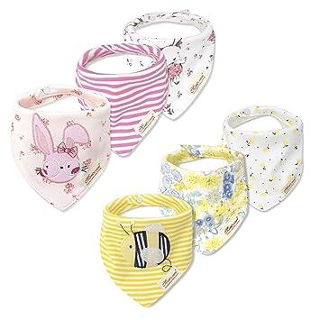 txian 6pcs Baby Girls Bandana baberos 100% algodón Dribble babero Cute patrón impermeable saliva toalla para bebés y niños pequeños: Amazon.es: Bebé