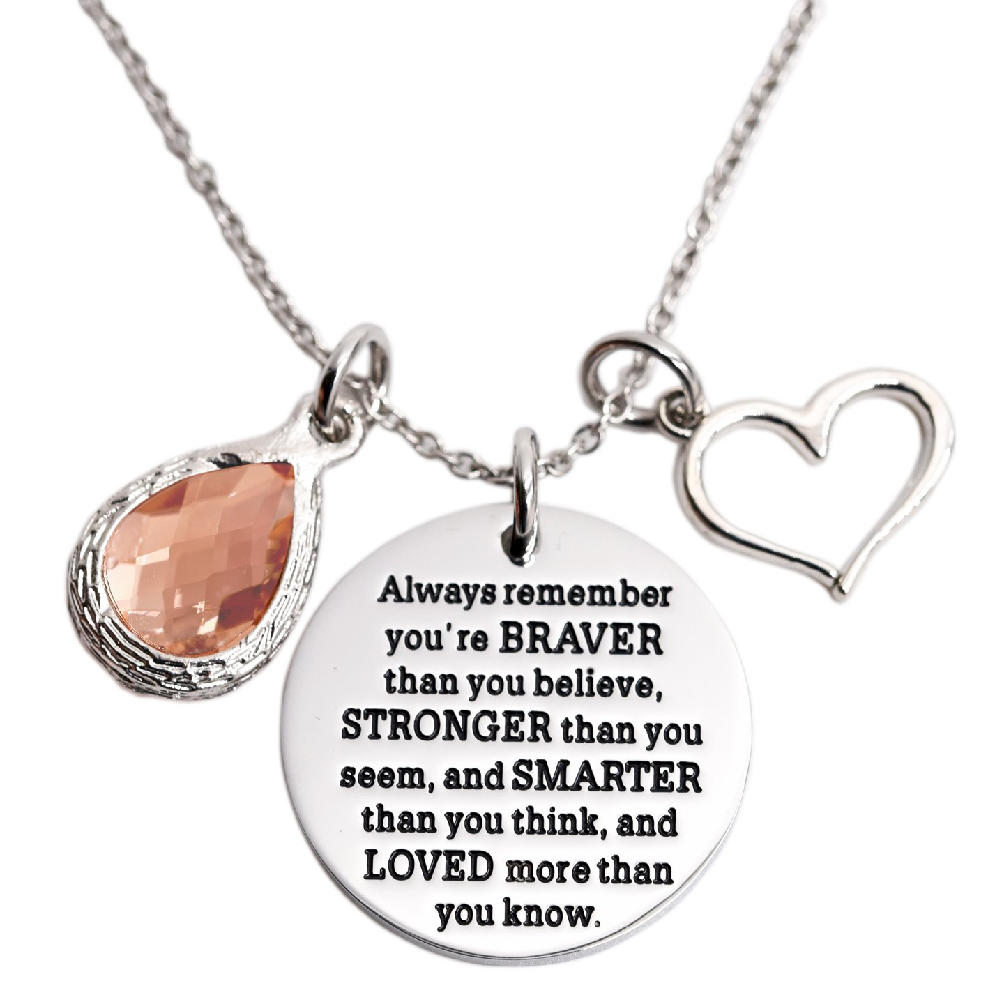 You Are Braver Than You Believe Awareness Necklace Birthstone Graduation Gift Best Friend Encouragement Gifts …