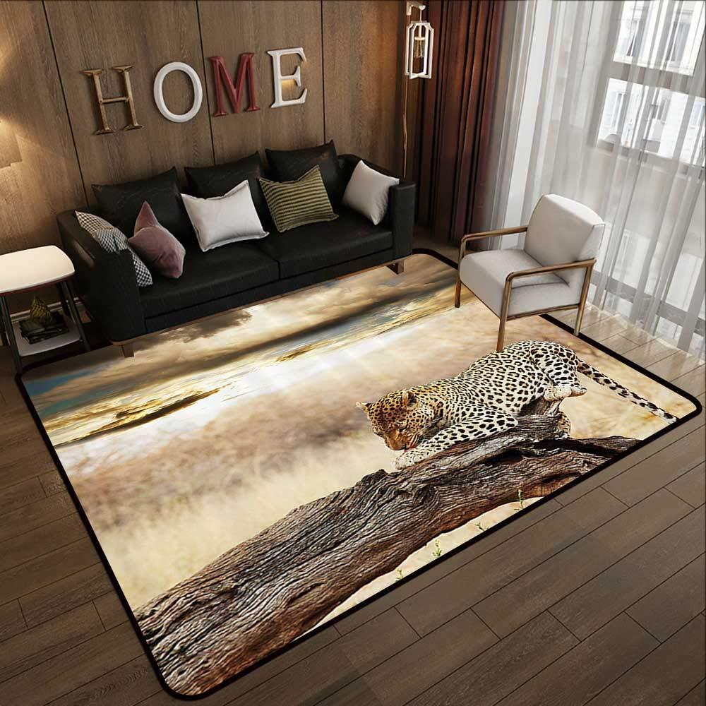 Pattern02 78.7 x 118 (W200cm x L300cm) Multi-color Modern Area Rug,Safari Decor,Siberian Tiger Eye Looking Through Wooden Peep Hole in Spy Predator Big Cat Wild 63 x 94  Non Slip Door Mat for Front Door
