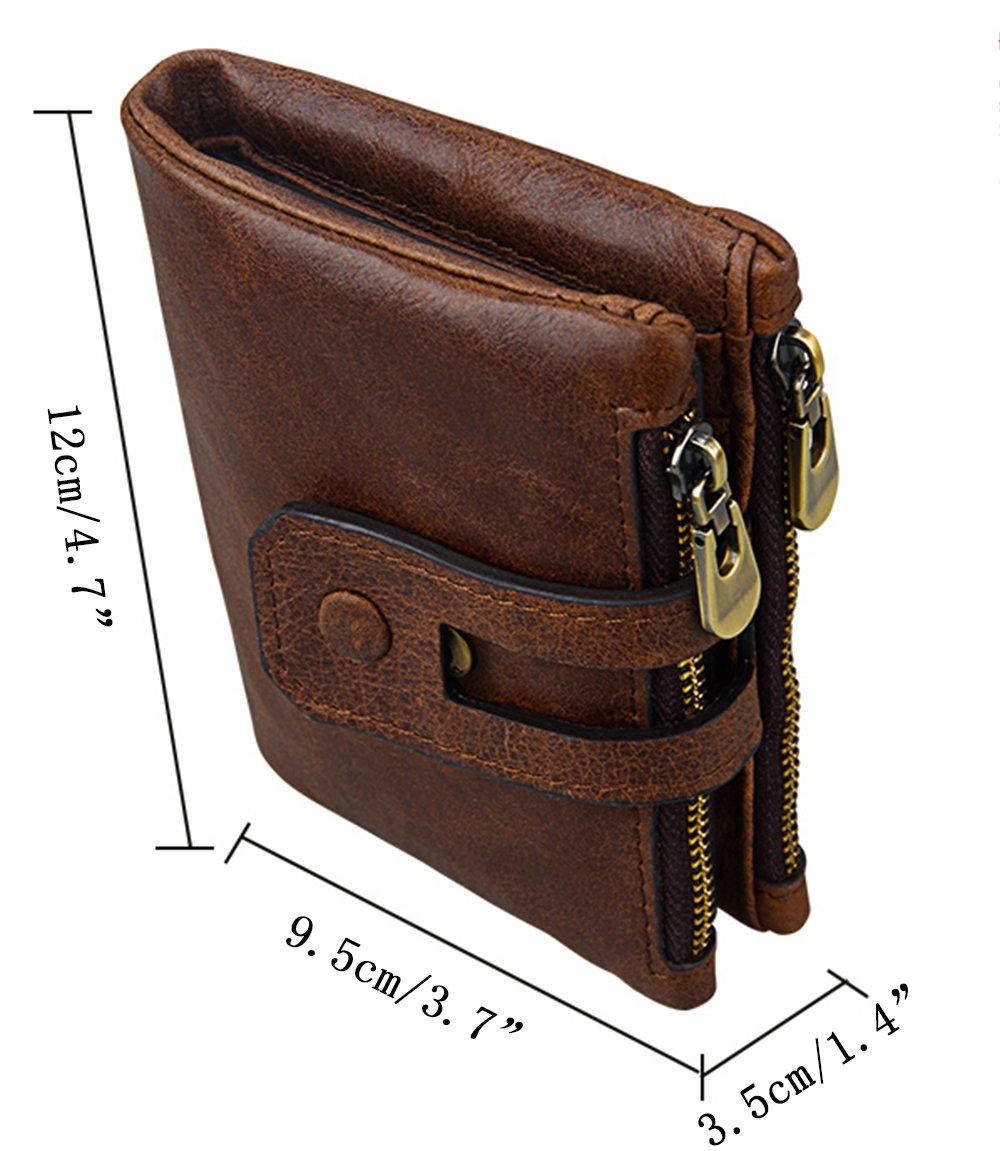iSuperb Men's RFID Blocking Wallet Bifold Short Purse Multi Card Organizer with Double Zipper (Coffee) by iSuperb (Image #6)