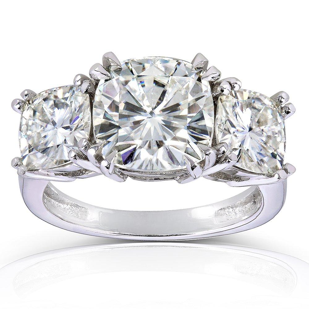 Cushion-cut Moissanite Three-Stone Engagement Ring 5 CTW 14k White or Yellow Gold