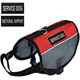 "Prettypets Lightweight Service Dog Vest Cool Red Mesh Harness with 2 Free Removable ""SERVICE DOG"" and 2 ""EMOTIONAL SUPPORT"" Patches"
