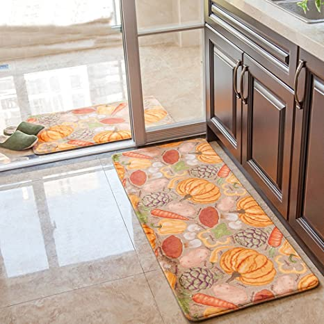 Wolala Home 2 Piece Sets Pumpkin Vegetables Design Kitchen Rugs Coral  Fleece Memory Foam Rug Runner Thick and Soft Non-Slip Floor ...