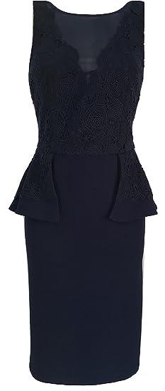 4f4d24f8c7 Coast Tessa Navy Blue Lace Peplum Pencil Dress Women s Size 10 UK ...