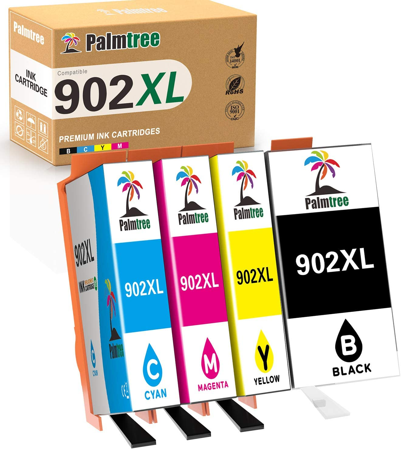 Palmtree Compatible Ink Cartridge Replacement for HP 902XL 902 XL to use with OfficeJet Pro 6968 6978 6958 6962 6954 6960 6970 6979 6950 6975 Printer (Black Yellow Cyan Magenta, 4-Pack)